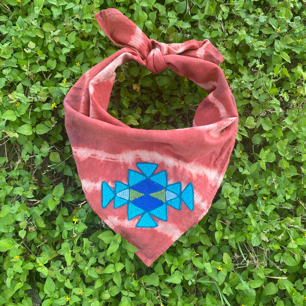 Naturally Dyed Embroidered Bandana-Pattern Blue