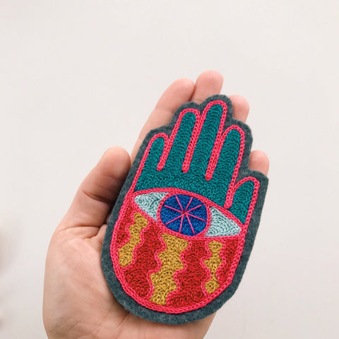 Hand Eye Chainstitch Embroidered Patch