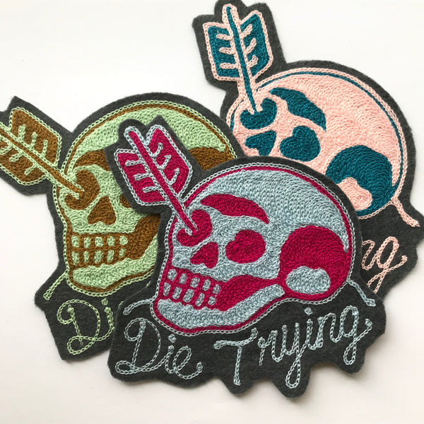 Die Trying Skull Chainstitch Patch