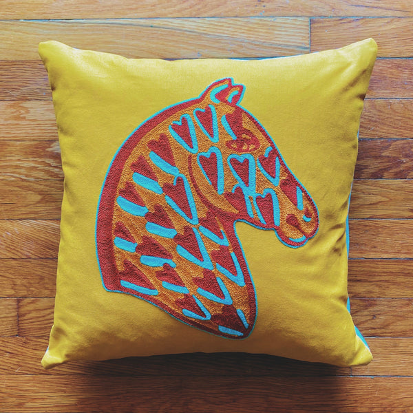 Heart Horse Pillow- Sunshine