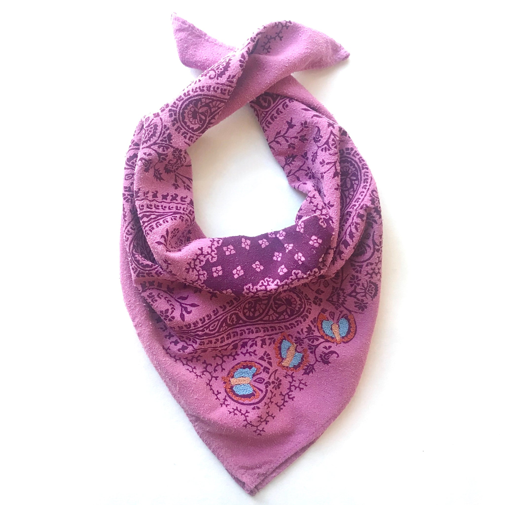 Embroidered Cochineal Paisley Silk Bandana