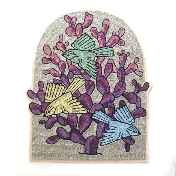 Three Birds Purple Cactus Backpatch