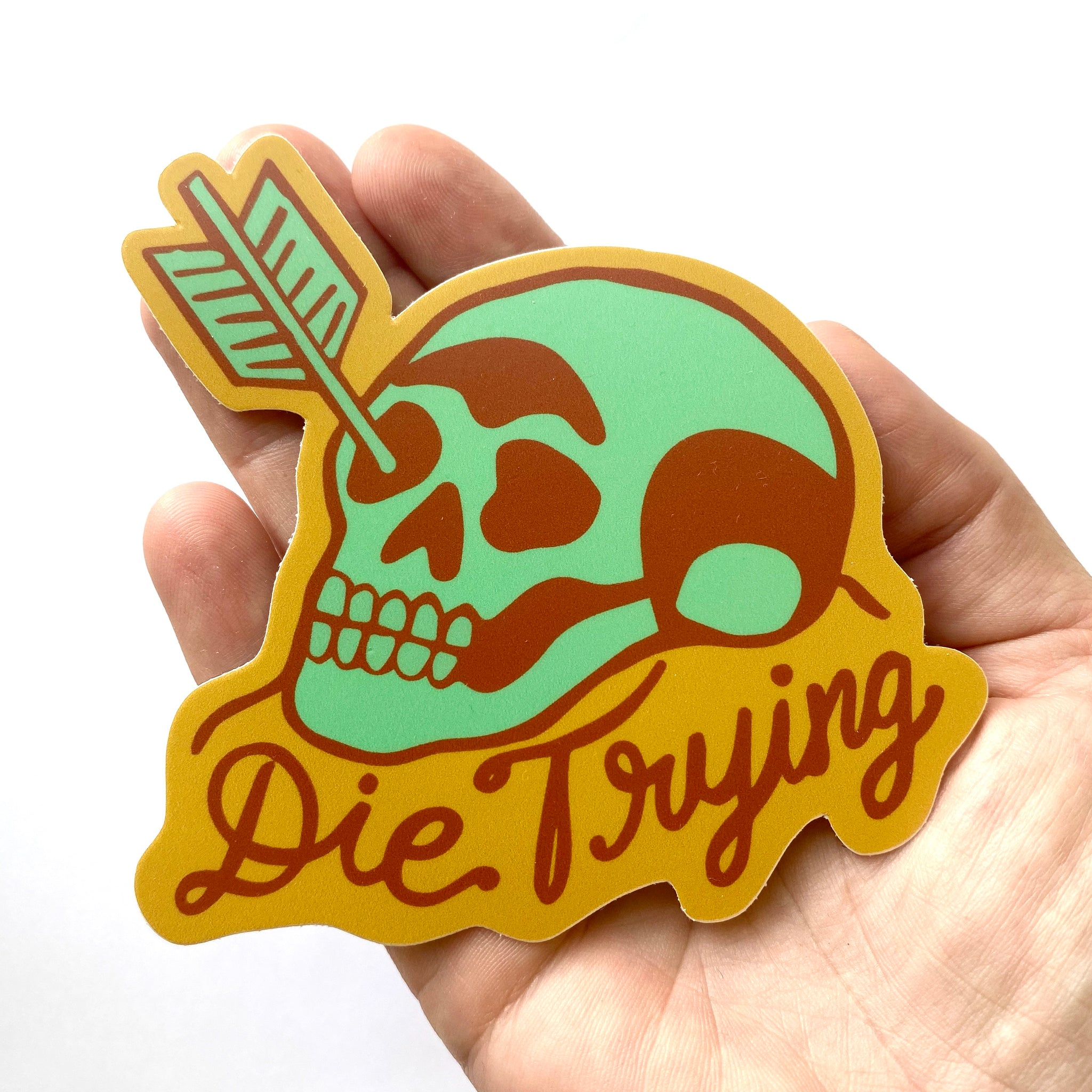 Die Trying Sticker - Mint & Rust