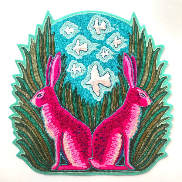 Jackrabbits With Bird Clouds Backpatch