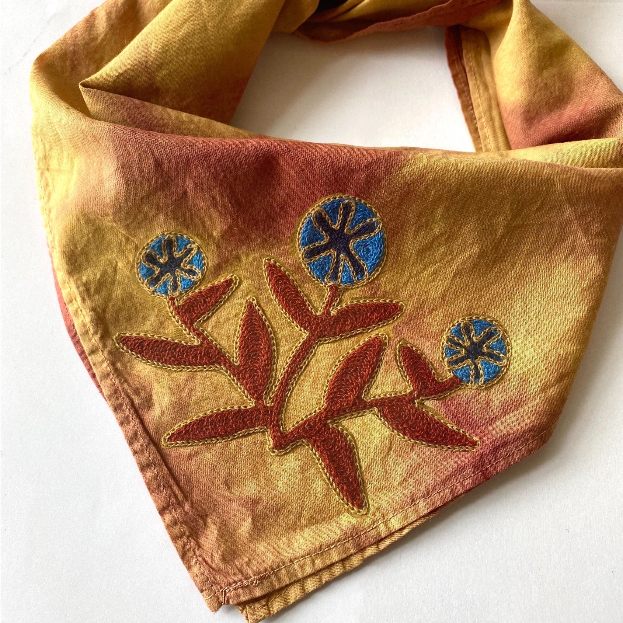 Naturally Dyed Embroidered Bandana-Blue Flowers