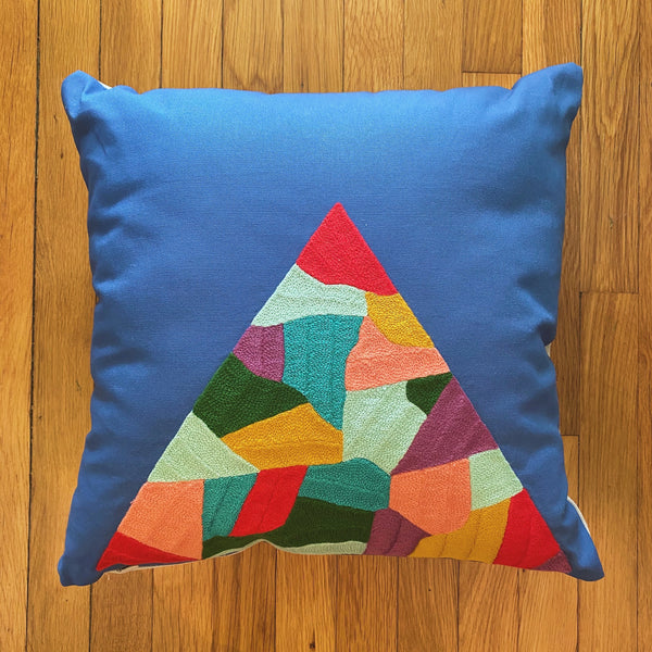 Patchwork Mountain Pillow Cotton Canvas (Samples- 2 left)