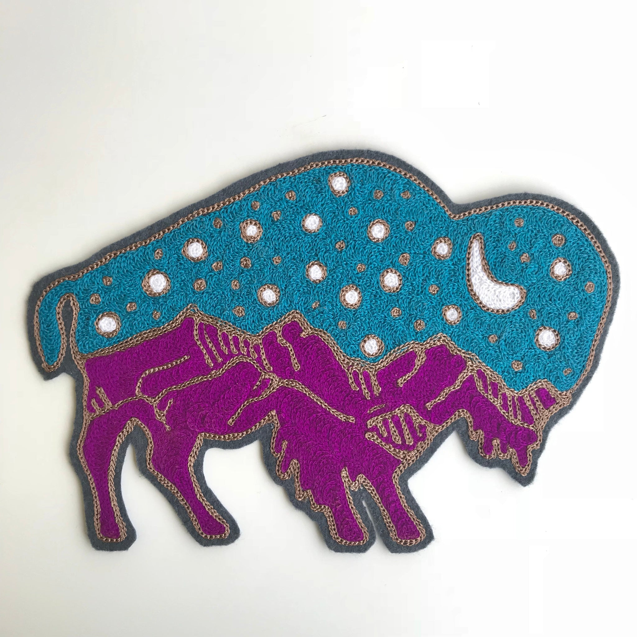 Starry Night Bison Chainstitch Backpatch