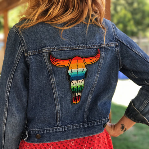 Serape Cow Skull Chainstitch Embroidered Back Patch