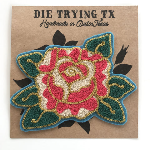 Rose Chain-Stitch Embroidered Patch