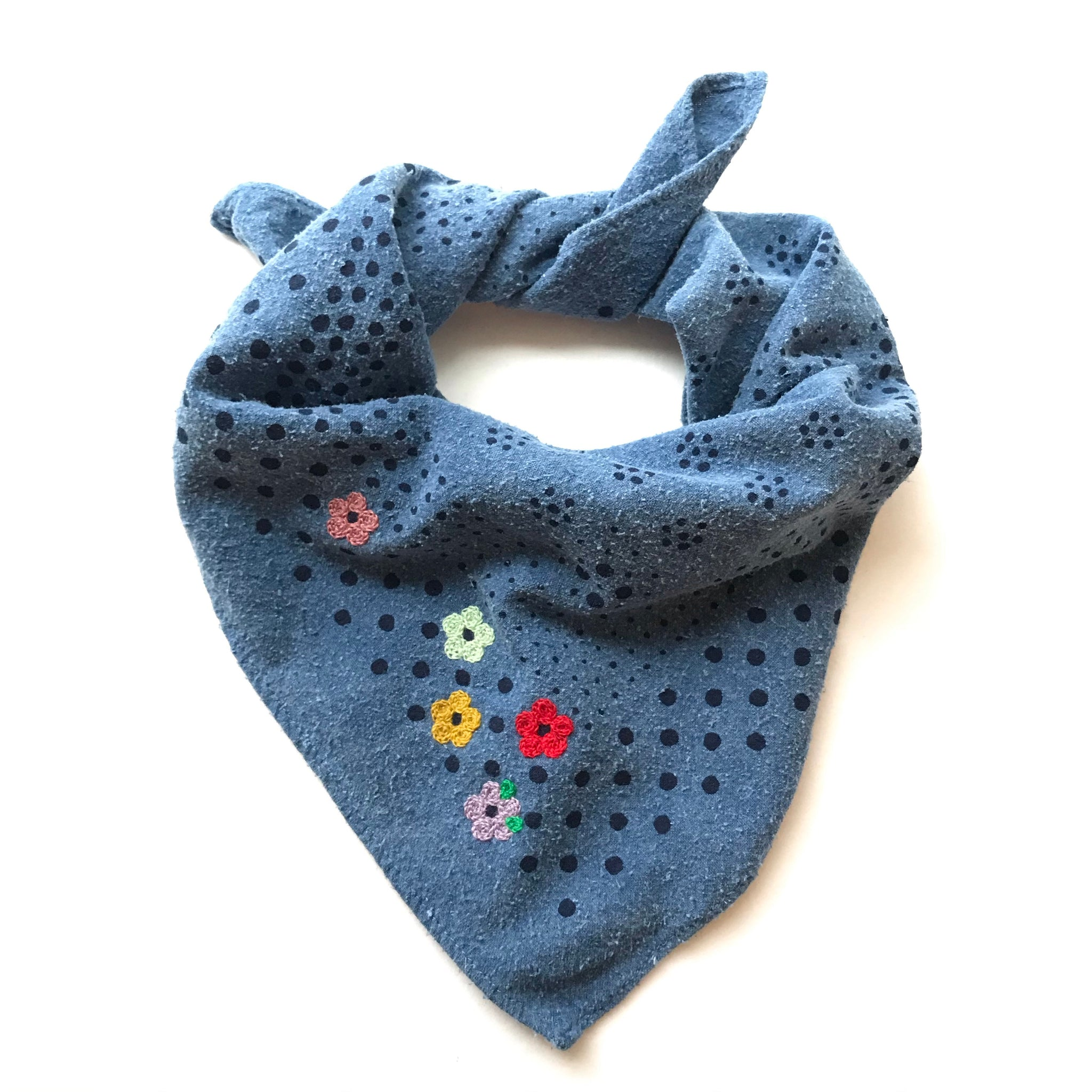 Embroidered Indigo Dot Bandana