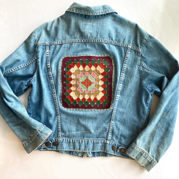 Vintage Denim Jacket - Wine Granny Square