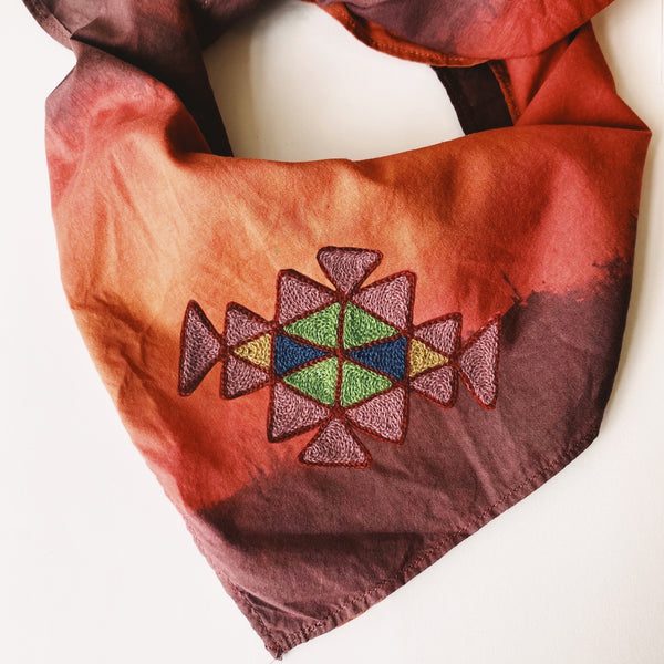 Naturally Dyed Embroidered Bandana-Triangles