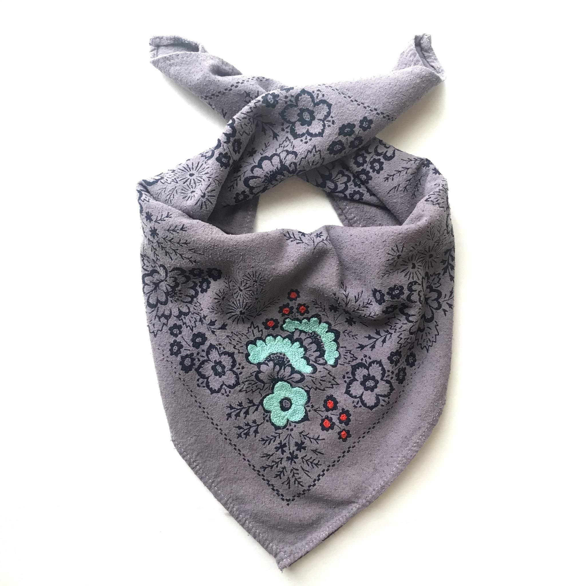 Embroidered Silk Logwood Field Bandana