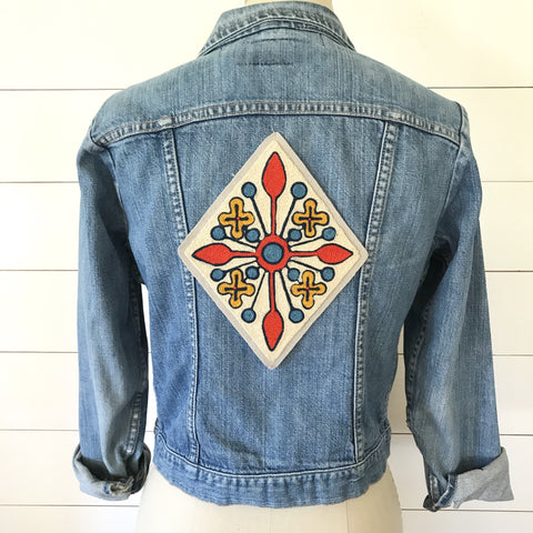 Flower Star Chainstitch Embroidered Back Patch
