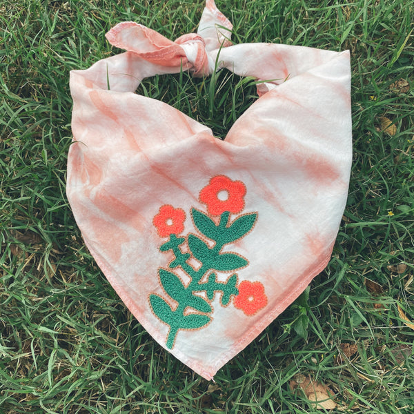 Naturally Dyed Embroidered Bandana- Pink Daisy