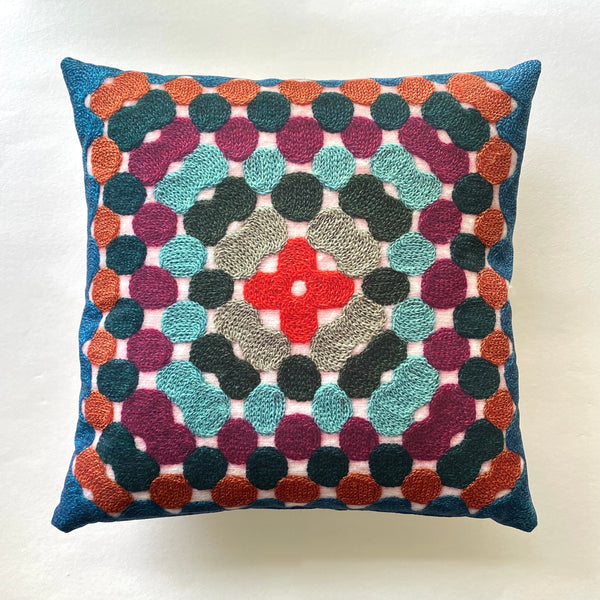 Granny Square Pillow - Teal & Wine
