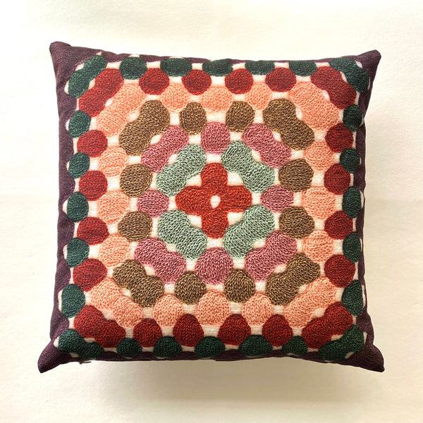 Granny Square Pillow - Sage & Rust