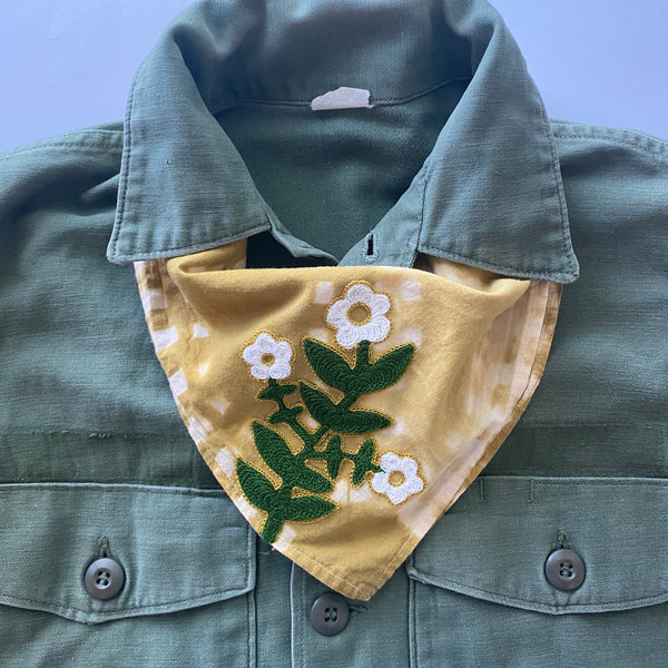 Naturally Dyed Embroidered Bandana-Daisy