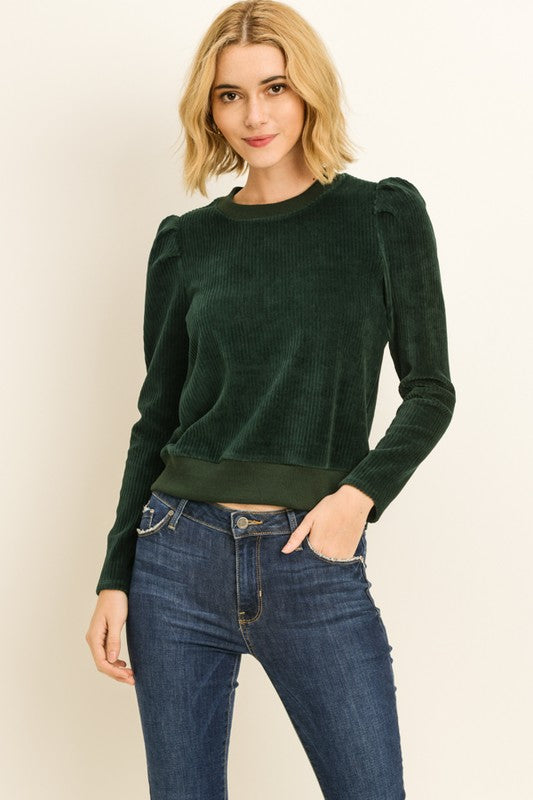 Green Velour Ribbed Sweater