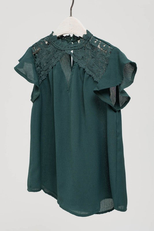 Hunter Green Lace Keyhole Top