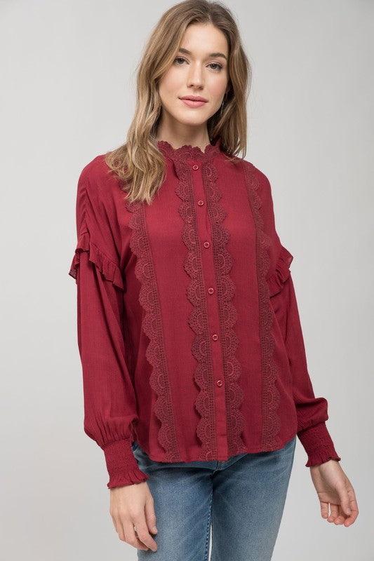 Long Sleeve Lace Burgundy Top