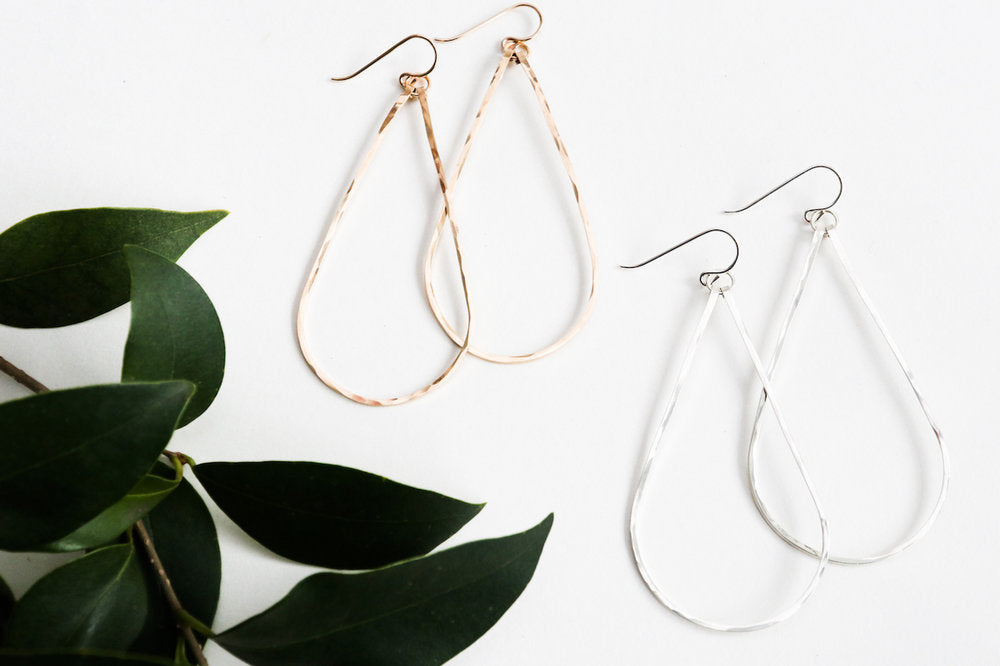 Hammered Teardrop Earrings