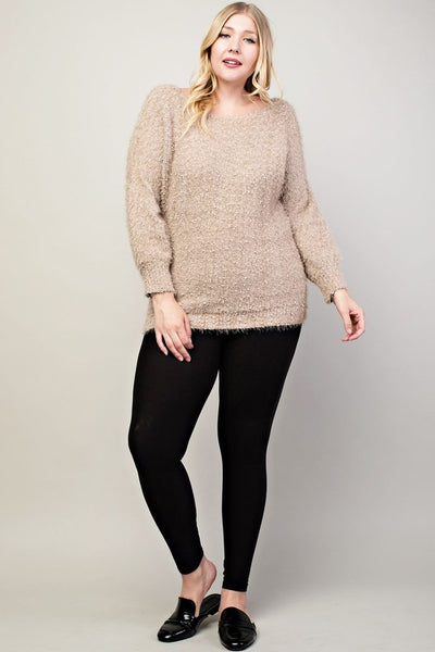 Long Sleeve Knit Sweater Top Plus Size
