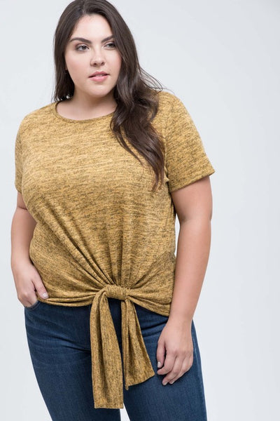 Mustard Draw String Top Plus Size