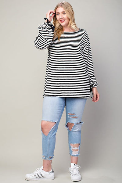 Sleeve Tie Stripe Top