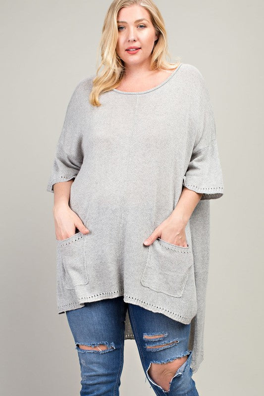 High-Low Oversized Tee Gray Plus Size