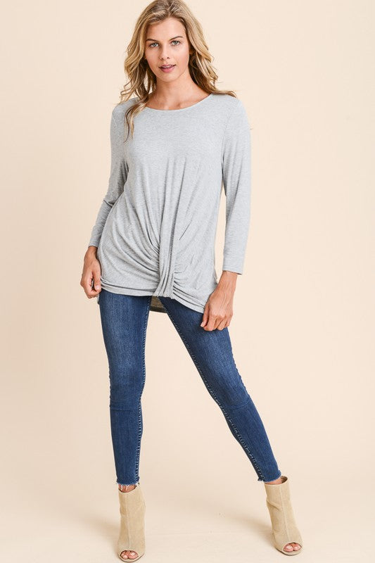 Grey Front Drape Top