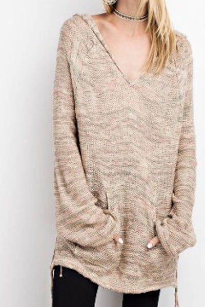 Multi Color Hoody Sweater Mauve/Blush