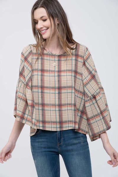 Natural Plaid Button Shirt