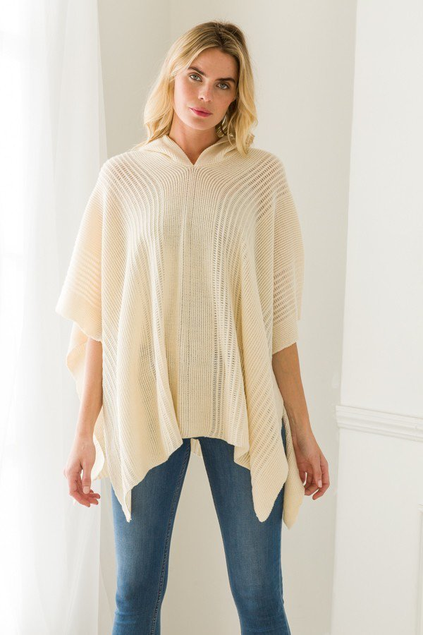 Squared Hooded Poncho One Size