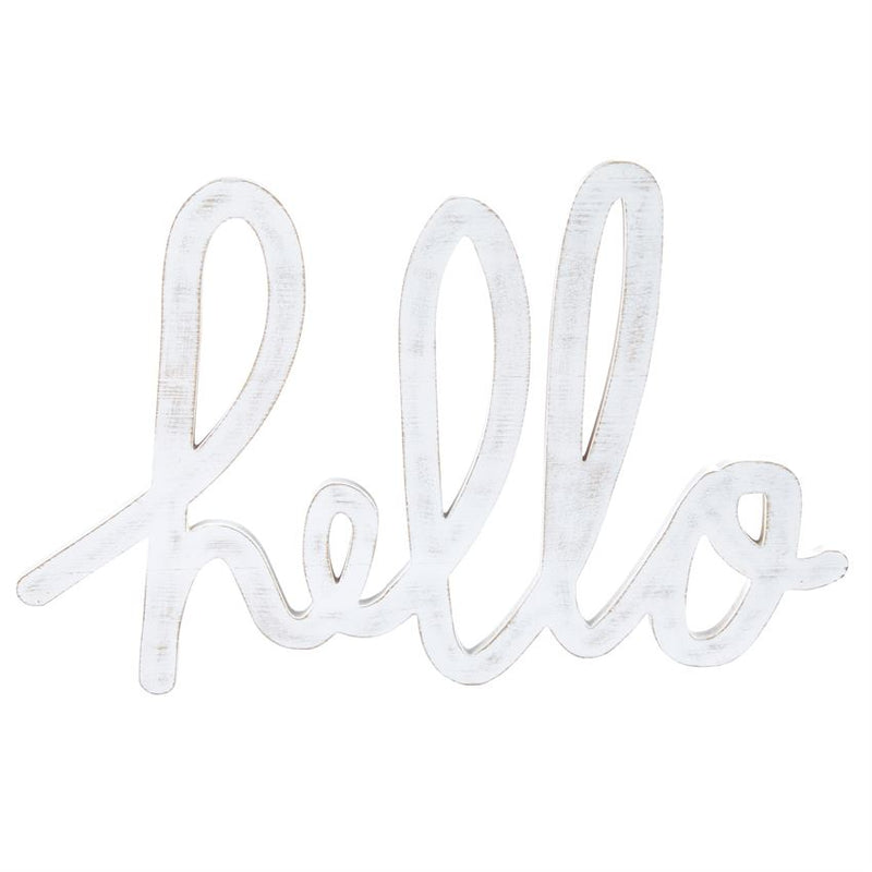HELLO SCRIPTED WORD WOOD WALL ART