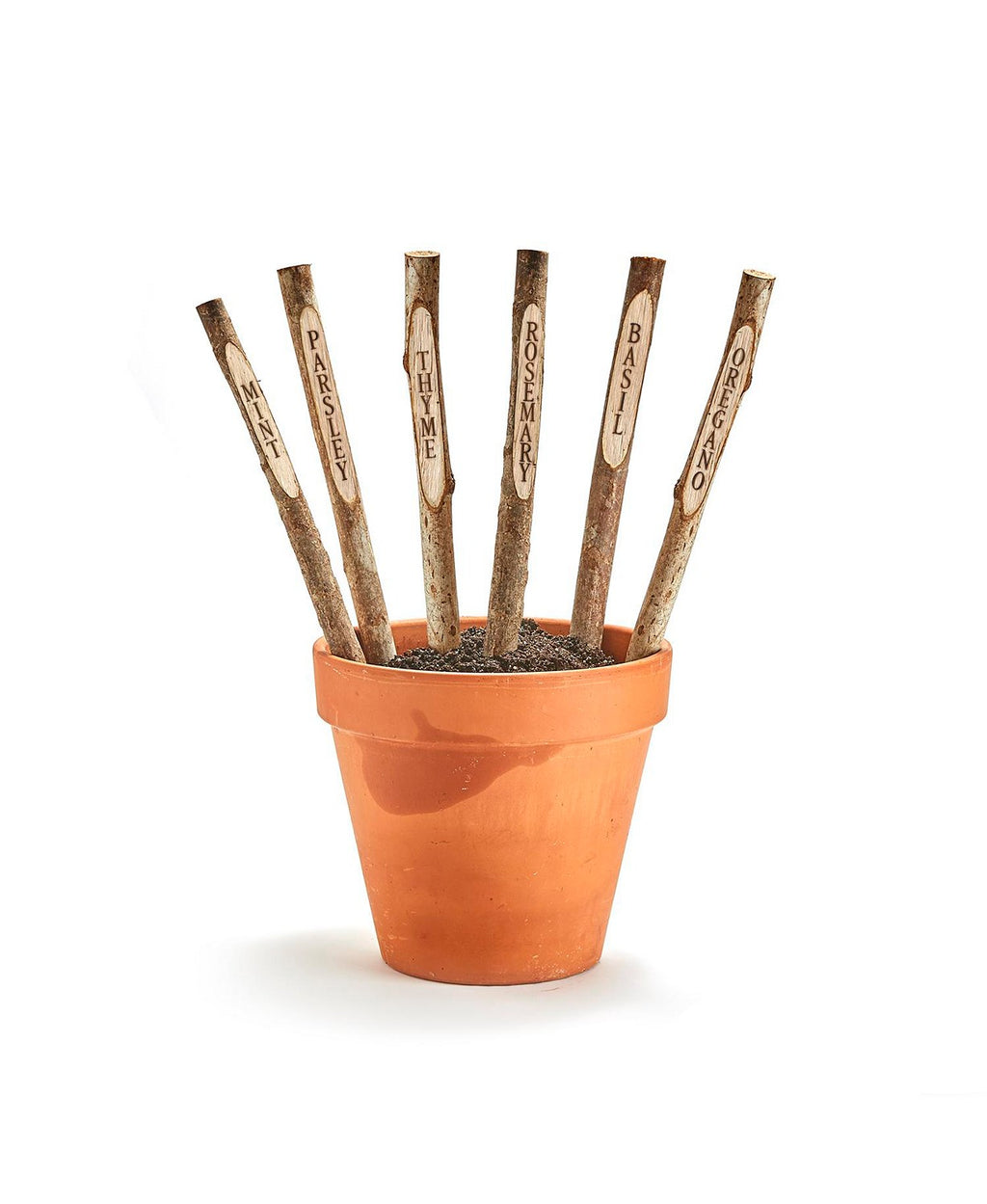 Set of 6 Hand-Crafted Wooden Stick Garden Markers Includes Rosemary, Thyme, Parsley, Basil, Mint, Oregano - Chaste Wood