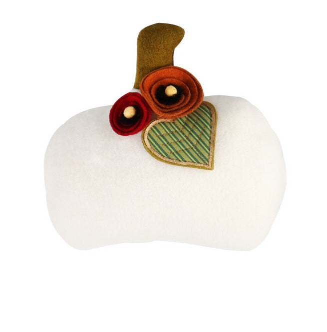 Mini Pumpkin Applique Pillow- White