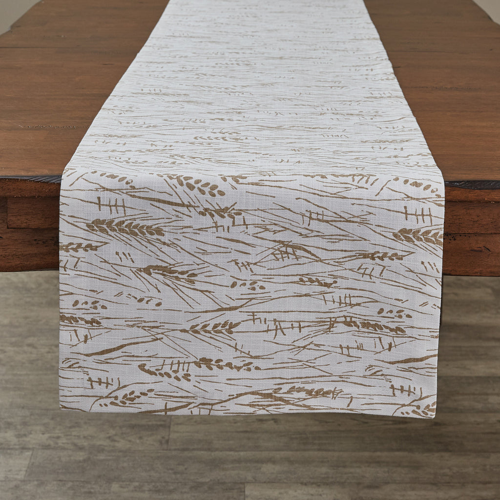 "Organic Wheatgrass Printed Table Runner 72""L"