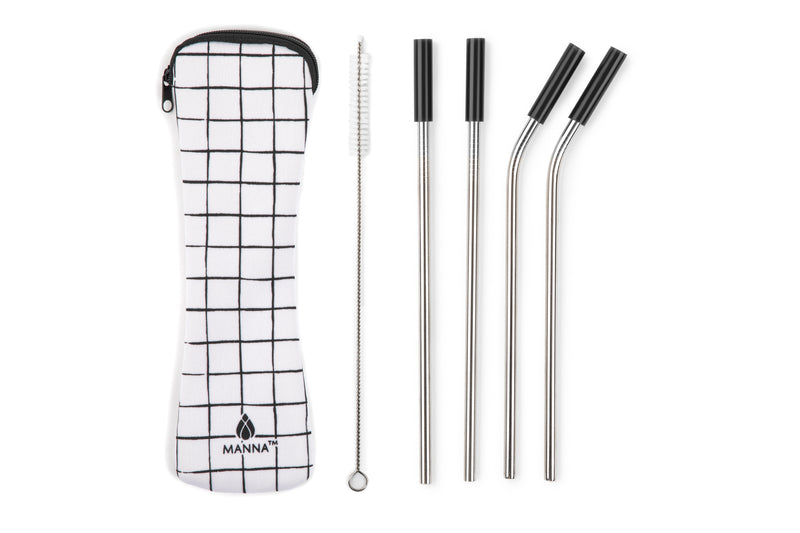 Stainless Steel Straws w/ Tips Travel Set 6pc