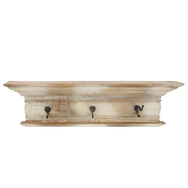 DISTRESSED WOOD HOOK SHELF- In store pick-up only!