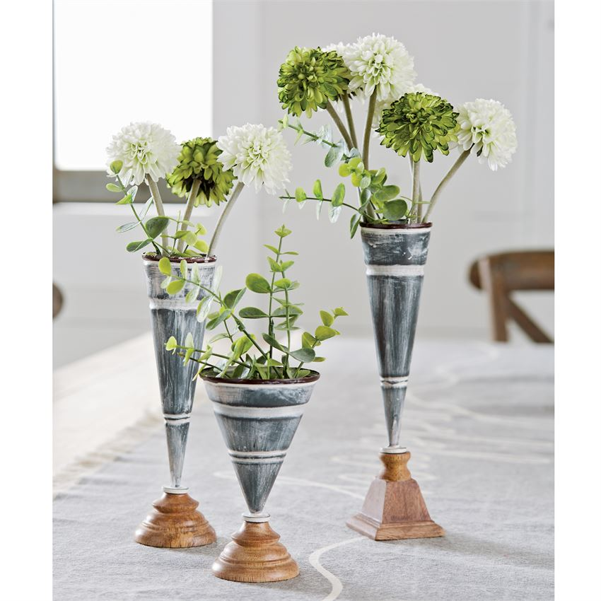 TIN BUD AND STEM VASE
