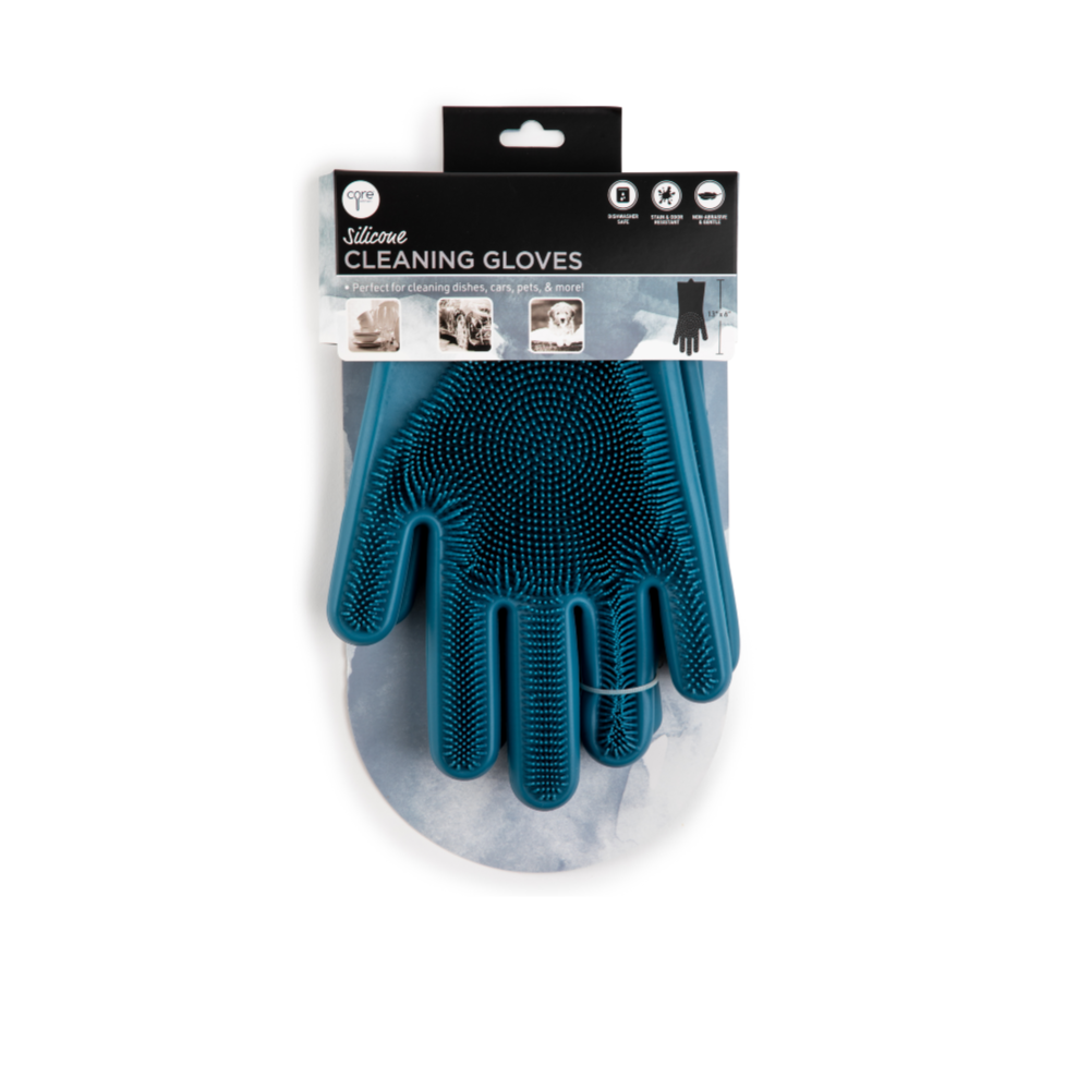 Pair of Silicone Cleaning Gloves- Indigo