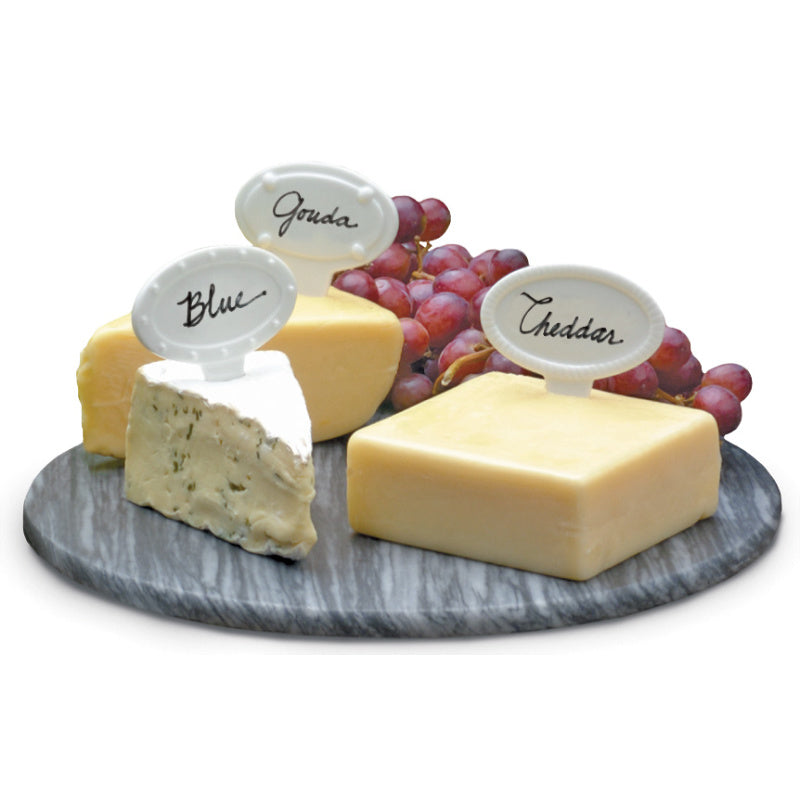 White Porcelain Cheese Labels Set of 6