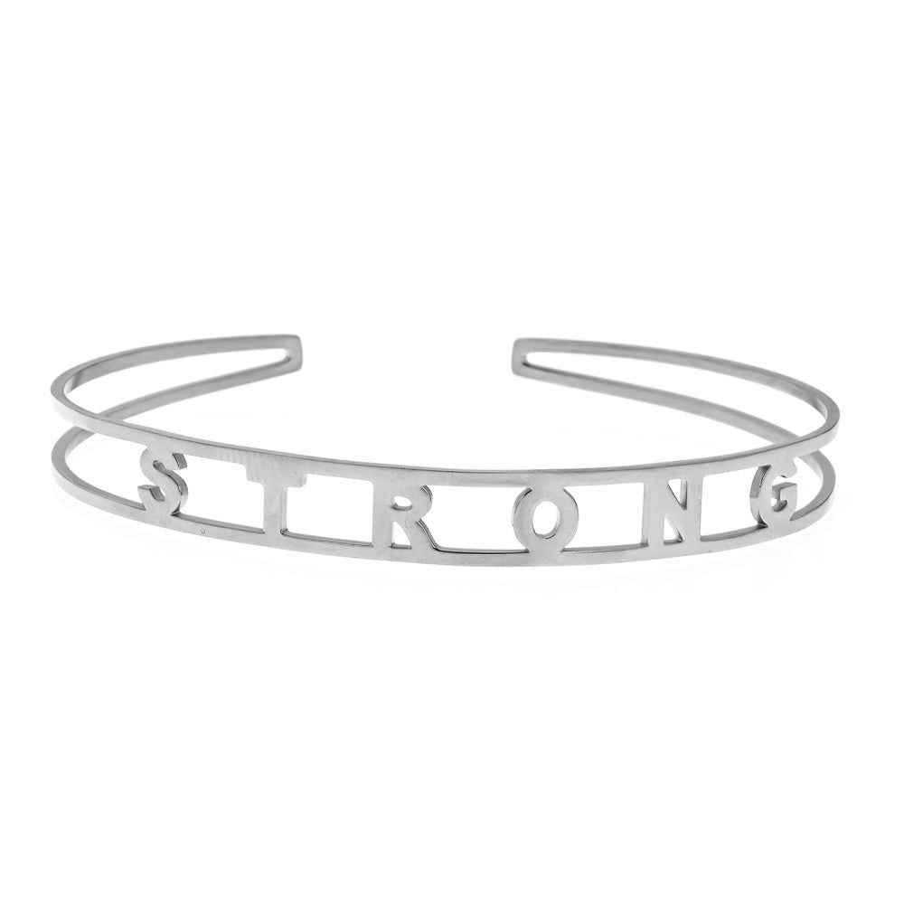 STRONG Brass Cuff Bracelet- White