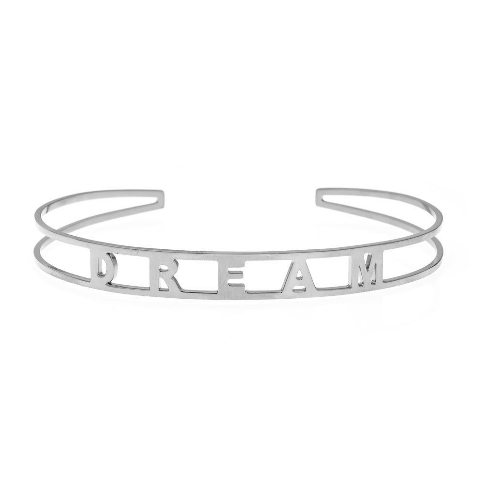 DREAM Brass Cuff Bracelet- White
