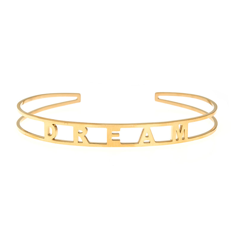 DREAM Brass Cuff Bracelet- Yellow