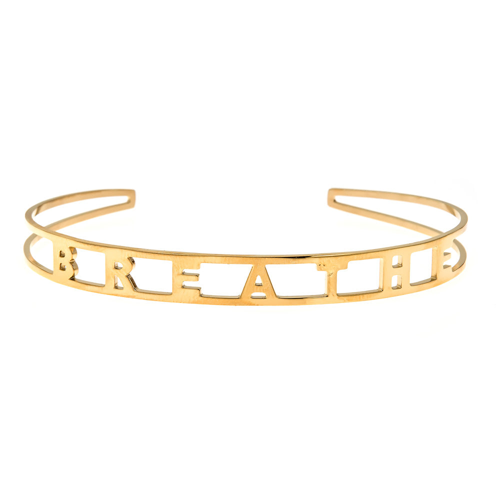 BREATHE Brass Cuff Bracelet- Yellow