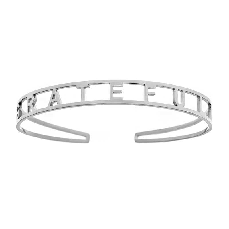 GRATEFUL Brass Cuff Bracelet- White