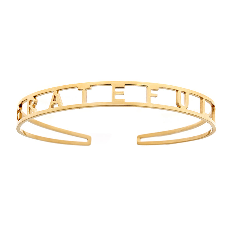 GRATEFUL Brass Cuff Bracelet- Yellow
