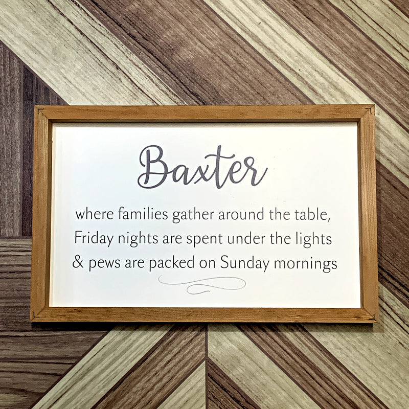 Baxter Framed Sign